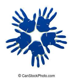 mani, blu, logotipo, successo, 3d
