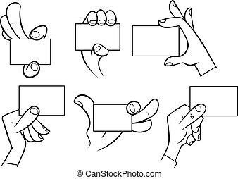 mani, cartone animato, scheda, presa a terra