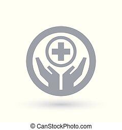 mani, con, aiuto medico, croce, icon., sanità, simbolo.