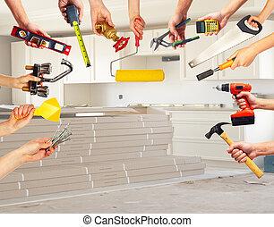 mani, con, costruzione, tools.