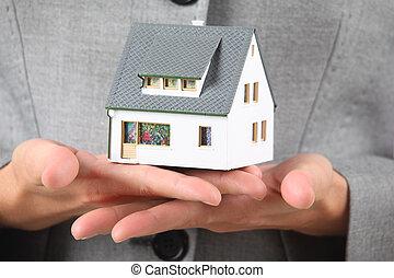 mani, con, modello casa