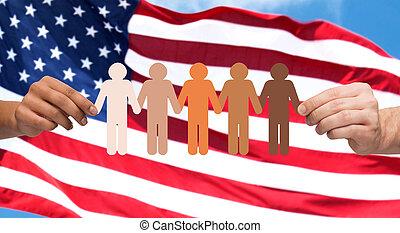 mani, con, persone, pictogram, sopra, bandiera americana