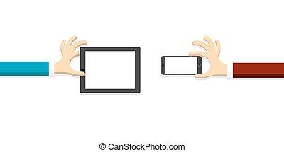 mani, con, tavoletta, (pc), e, smartphone, in, cartone animato, stile