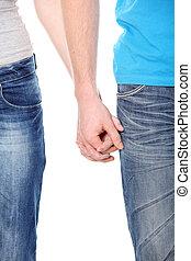 mani, coppia, riprese ravvicinate