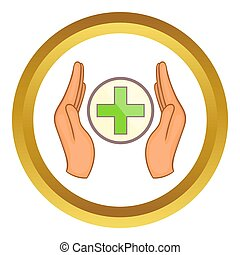 mani, croce, presa a terra, icona