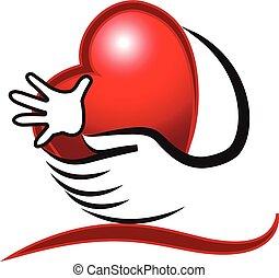 mani, cuore, amore, logotipo, concetto