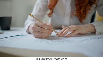 mani, di, giovane, femmina, finanziario, analytic, disegno,...