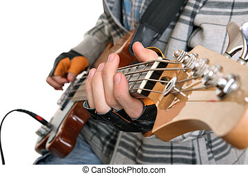 mani, di, uno, roccia, musicista