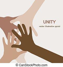 mani, diverso, affiatamento