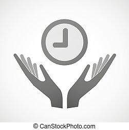 mani, due, offerta, orologio