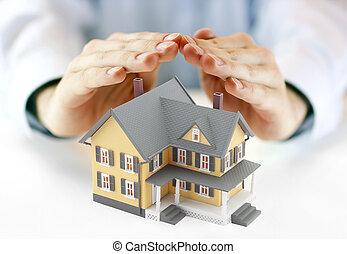 mani, e, casa, modello