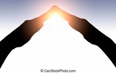 mani elevate, presa, sole, su, tramonto, sky., concetto, di, spiritualità, wellbeing, positivo, energia, ecc.