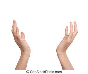 mani elevate, su, due