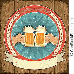 mani, etichetta, carta, vecchio, fondo, set, texture., uomo, birra, vendemmia