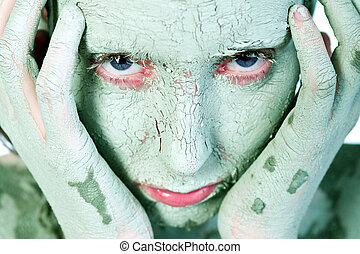 mani, faccia, verde, argilla, coperto, mio