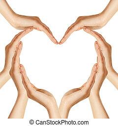 mani, fare, forma cuore