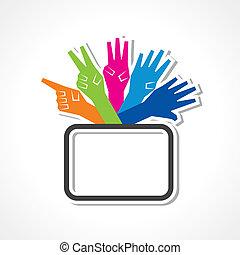 mani, fare, numero, cinque