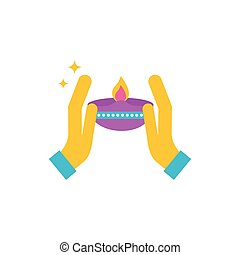 mani, felice, candela, diwali, celebrazione