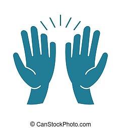 mani, giorno, icona, alto cinque, celebrazione, silhouette, stile, amicizia, felice
