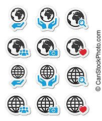 mani, globo, vettore, terra, icone