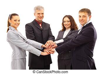 mani, gruppo, shanking, persone affari