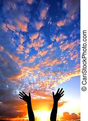 mani in alto, a, il, cielo, esposizione, felicità