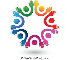 mani in alto, lavoro squadra, logotipo, vettore