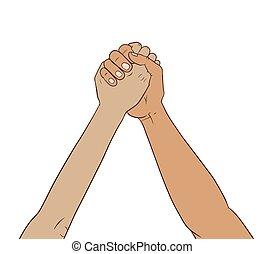 mani insieme, aria