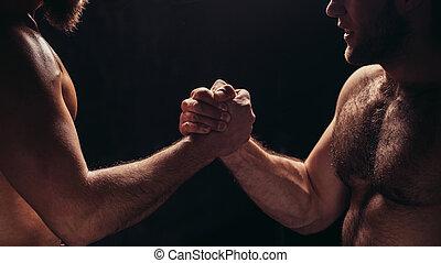 mani insieme, -, idoneità, squadra, secondo, addestramento, -, alto, five., affiatamento, concetto