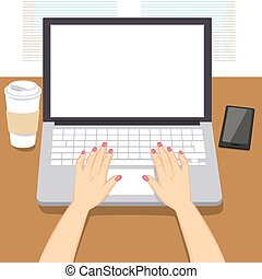 mani, laptop, scrittura donna