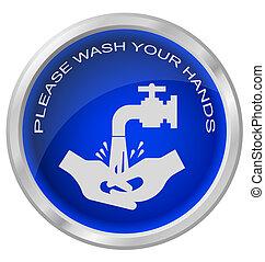 mani, lavare, bottone