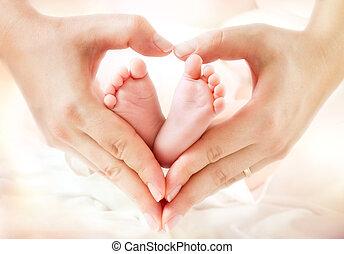 mani, madre, focolare, piedi bambino, -