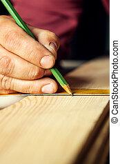 mani, maschio, righello, closeup., matita