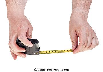 mani, nastro, isolato, uomo, misura