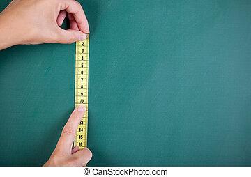 mani, nastro, presa a terra, misura