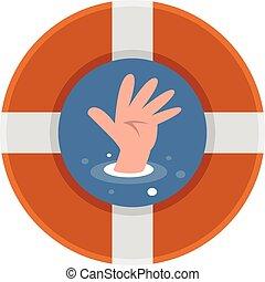 mani, persone, annegare