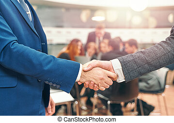 mani, persone, finitura, tremante, su, riunione, affari