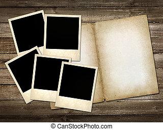 mani, polaroid-style, foto, ligado, a, madeira, fundo