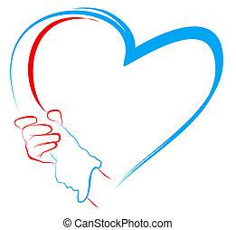mani, presa a terra, a, forma cuore