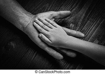 mani, presa a terra, anziano, più giovane, uomo, mano