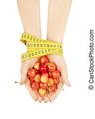 mani, presa a terra, ciliegie, legato, nastro, misurazione