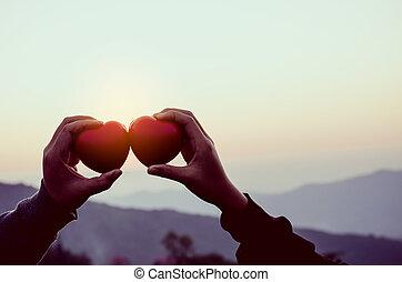 mani, presa a terra, cuore, forma, di, amore