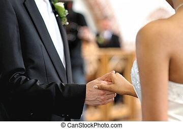 mani, presa a terra, sposo, altro, sposa, ciascuno
