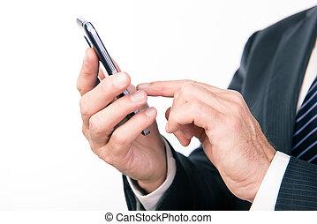mani, scrittura, uomo affari, messaggio, smartphone