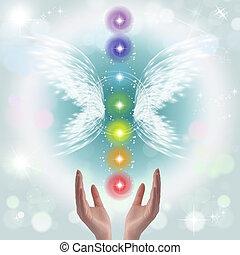 mani, sette, guarigione, chakras