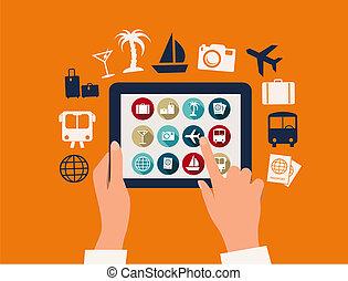mani, toccante, uno, tavoletta, con, vacanza, e, viaggiare, icons., vector.