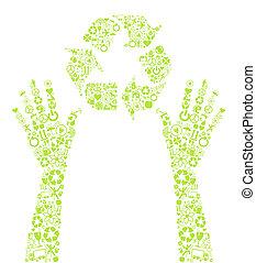 mani, vettore, verde, presa a terra, icona