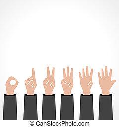 mani, zero, fare, numero cinque