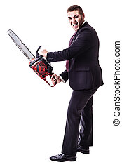 a young businessman holding a red chainsaw isolated over a white background