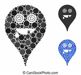 Maniac smiley map marker Composition Icon of Round Dots